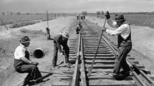 men at work on the railroad