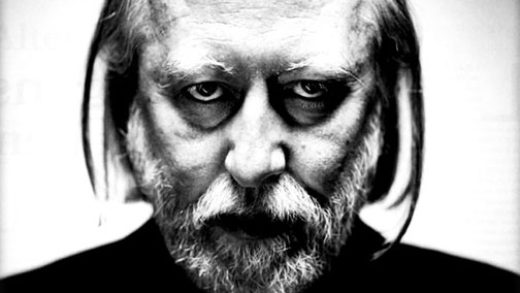 A black and white image of the Hungarian author Lázló Krasnahorkai