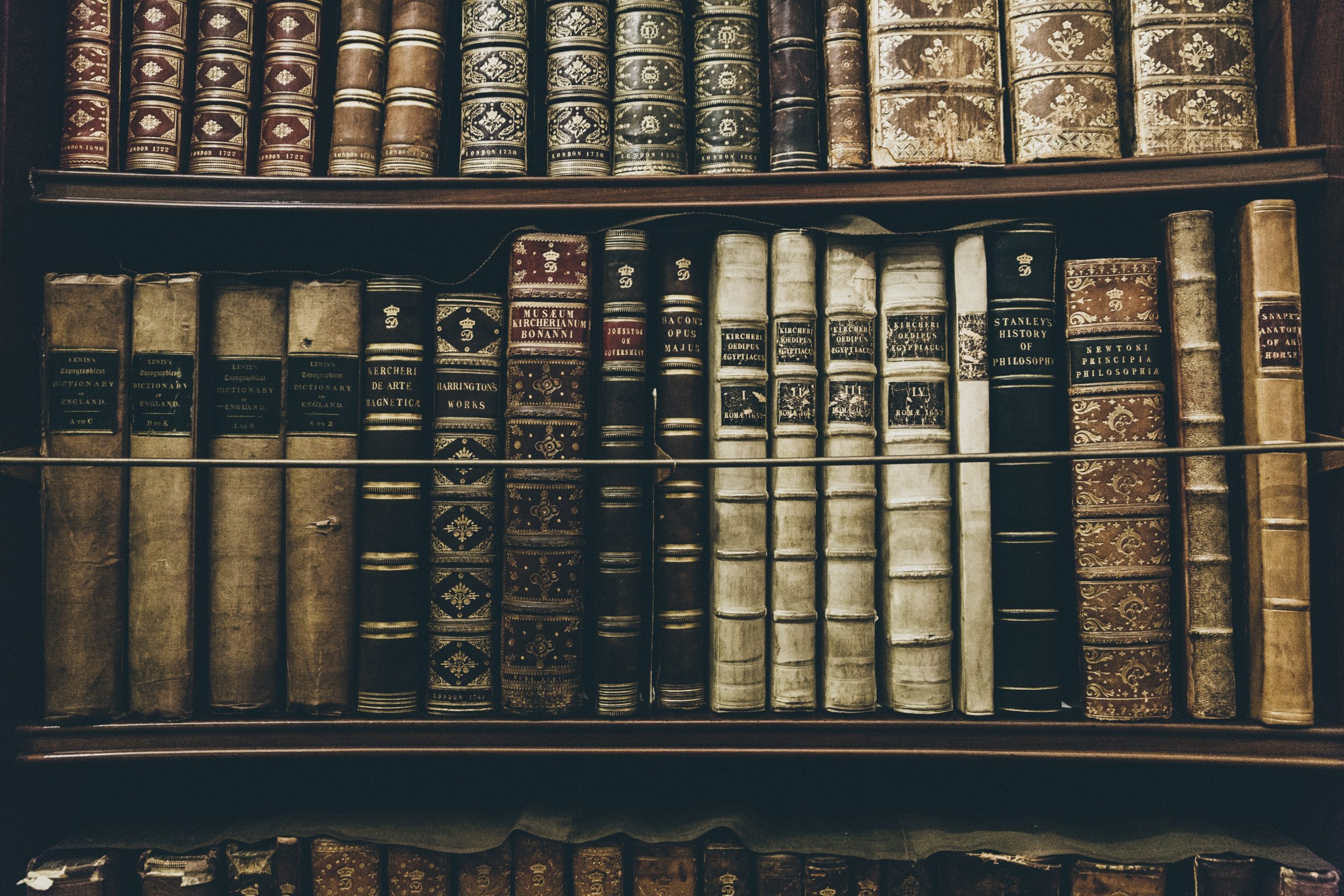 Stock images of old books on a shelf