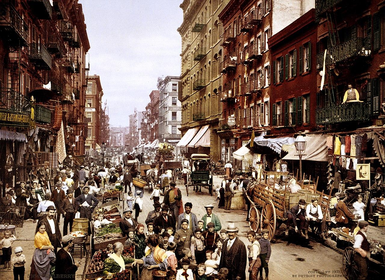 Spy a flâneur on 19th century Mulberry Street, New York City