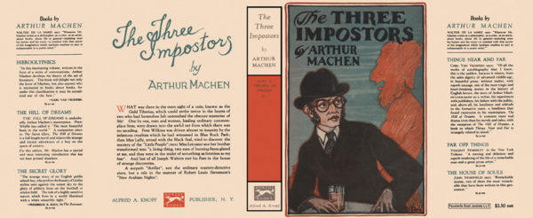 Dust jacket of Arthur Machen's The Three Imposters, which I read during the month of July