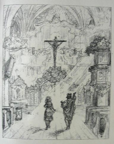 """sketch of a key scene in Gottfried Keller's """"The Little Dance Legend"""""""