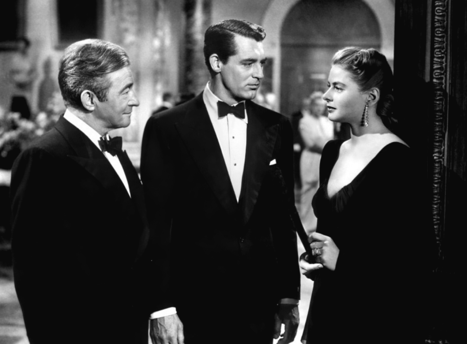 A smoldering Dev stands separated from his love Alicia: Notorious (1946)