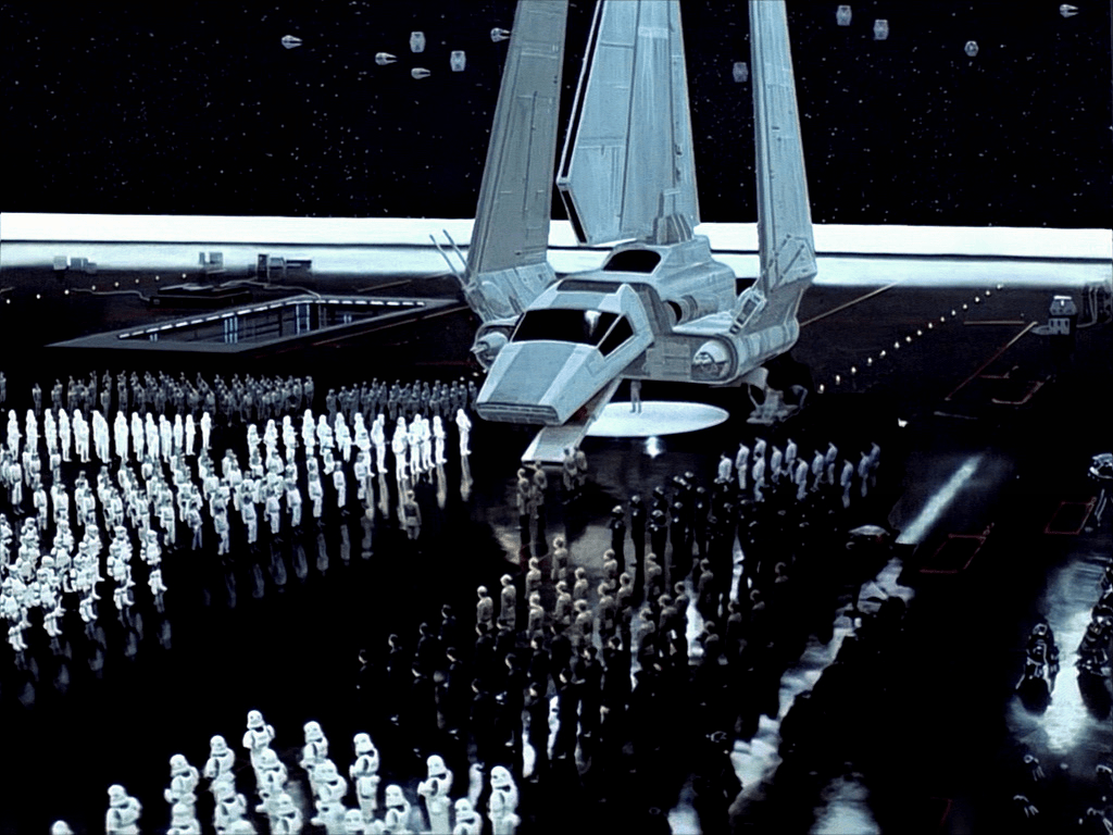 Still of the arrival of the emperor in Return of the Jedi. Strongly reminiscent of Nazi aesthetics.