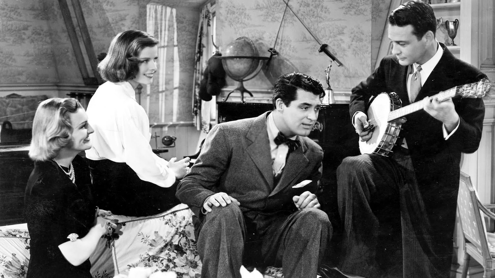 Still from the 1938 film Holiday, starring Cary Grant and Katherine Hepburn, which is not really about the holidays. Viewed, not read, during December 2020.