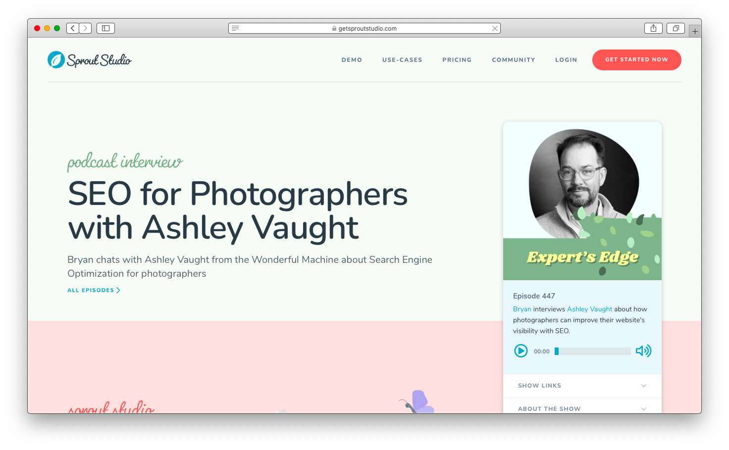 Screenshot of the Sprout Studio interview of Ashley Vaught by CEO Bryan Caporicci