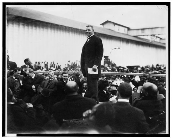 Booker T. Washington giving a speech in Mississippi in 1912