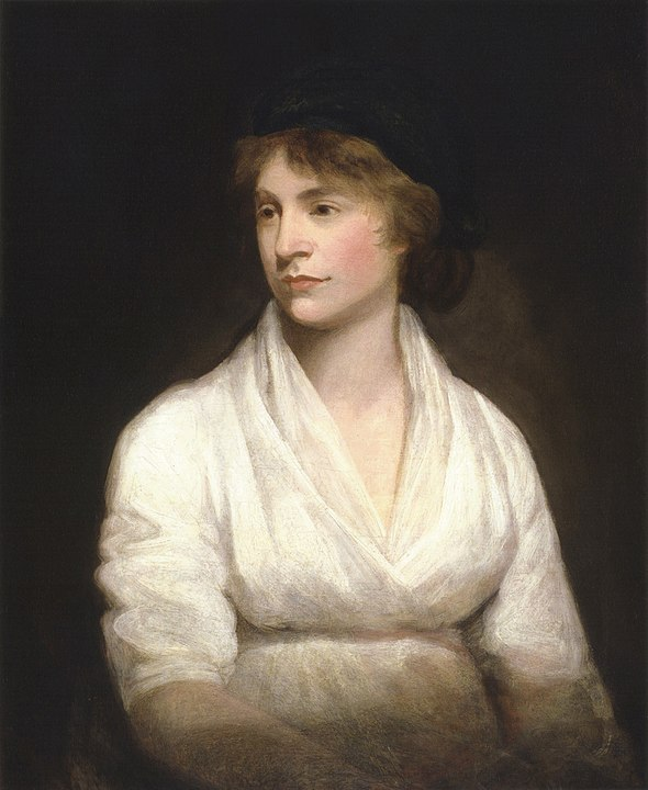 Portrait of Mary Wollstonecraft, circa 1797, by John Opie. Her daughter is Mary Shelley, whose The Last Man I have read.