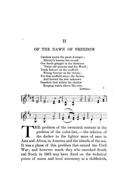 """First page of The Souls of Black Folk's second chapter, """"Of the Dawn of Freedom"""""""