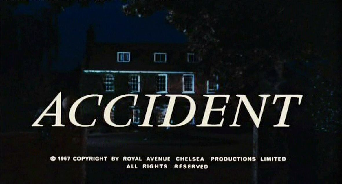 Opening credits for Accident (1967), directed by Joseph Losey and starring Dirk Bogarde and Delphine Seyrig