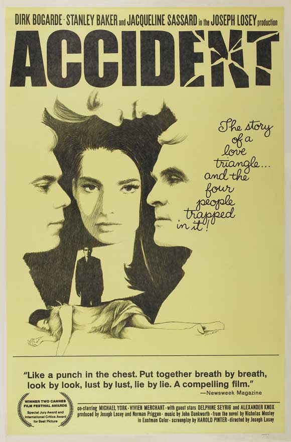 Poster for the 1967 film Accident, starring Dirk Bogarde and Delphine Seyrig