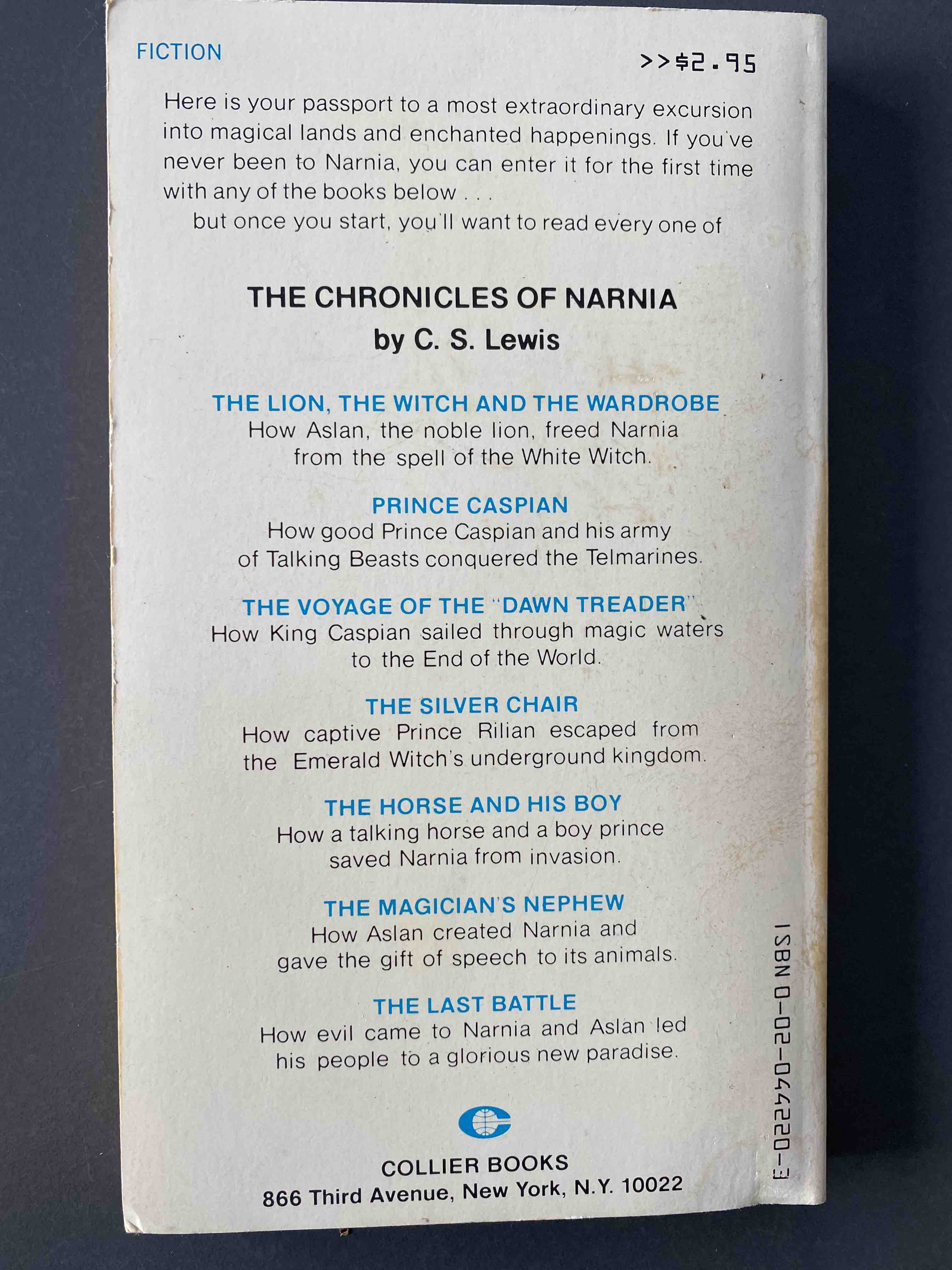 C.S. Lewis, The Lion, the Witch, and the Wardrobe. Back cover