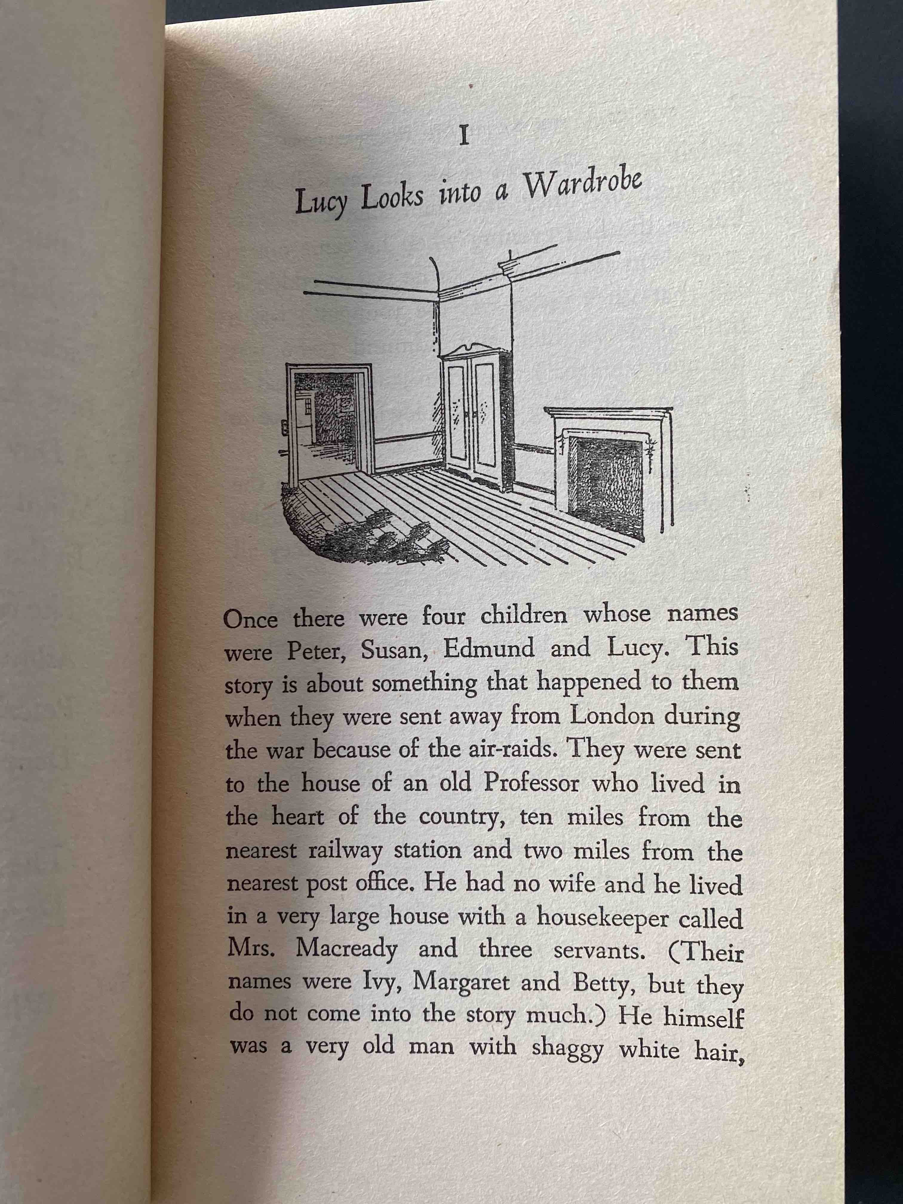 C.S. Lewis, The Lion, the Witch, and the Wardrobe. First page.