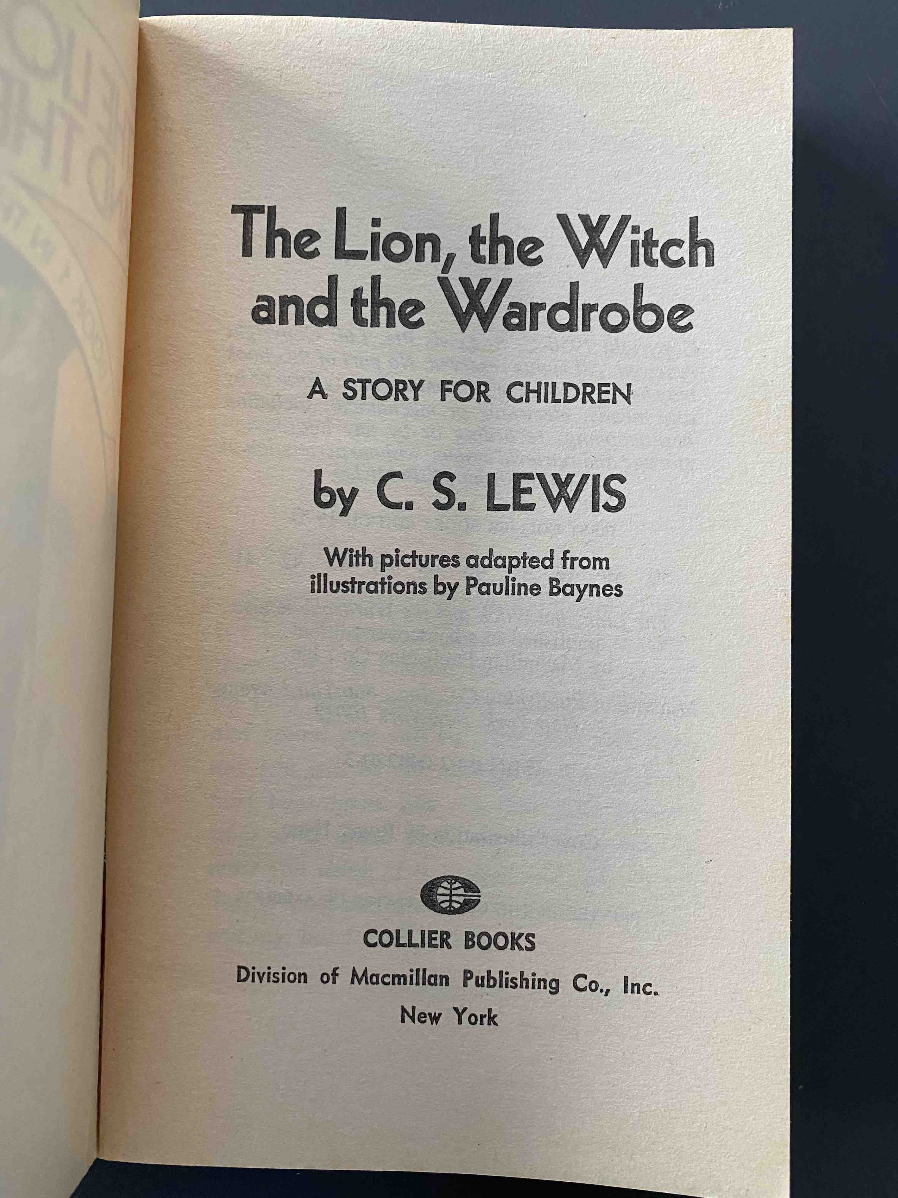 C.S. Lewis, The Lion, the Witch, and the Wardrobe. Title Page