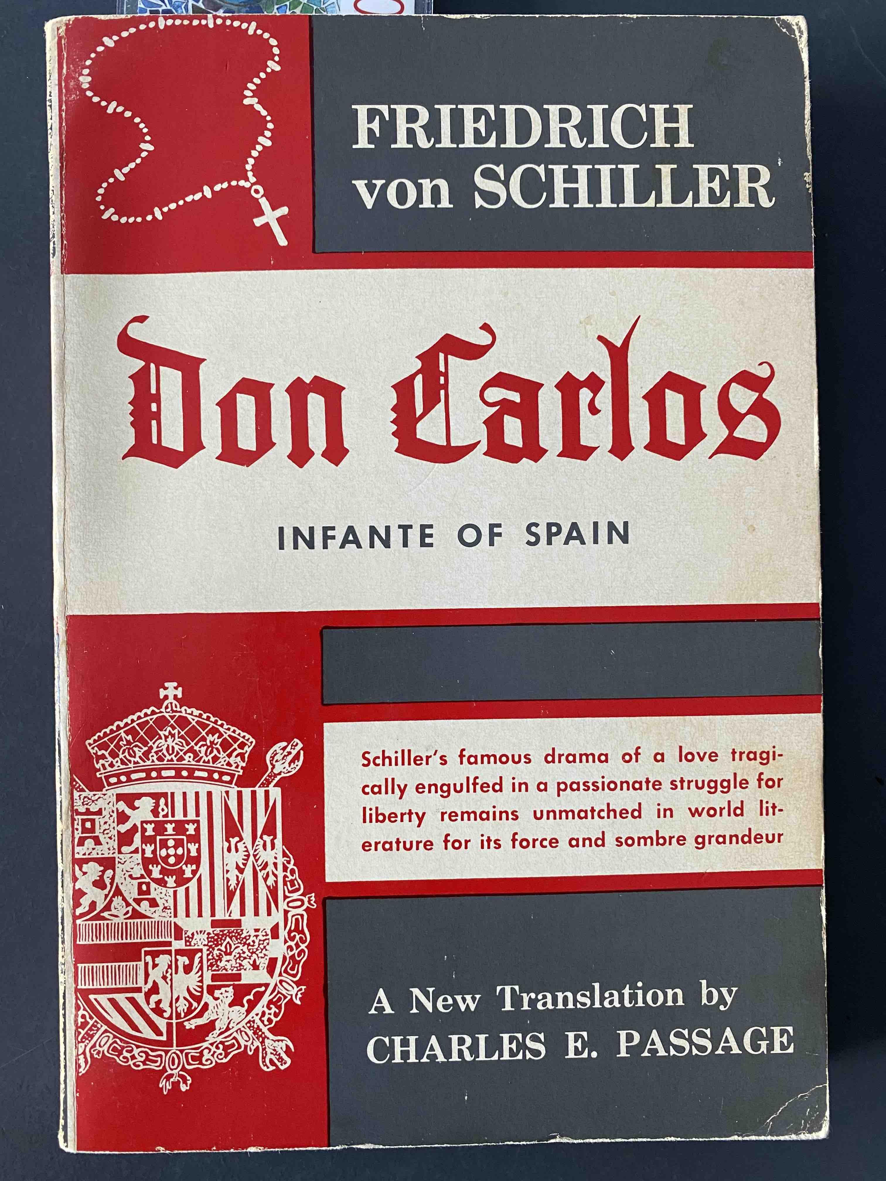 Friedrich Schiller, Don Carlos. Front cover.