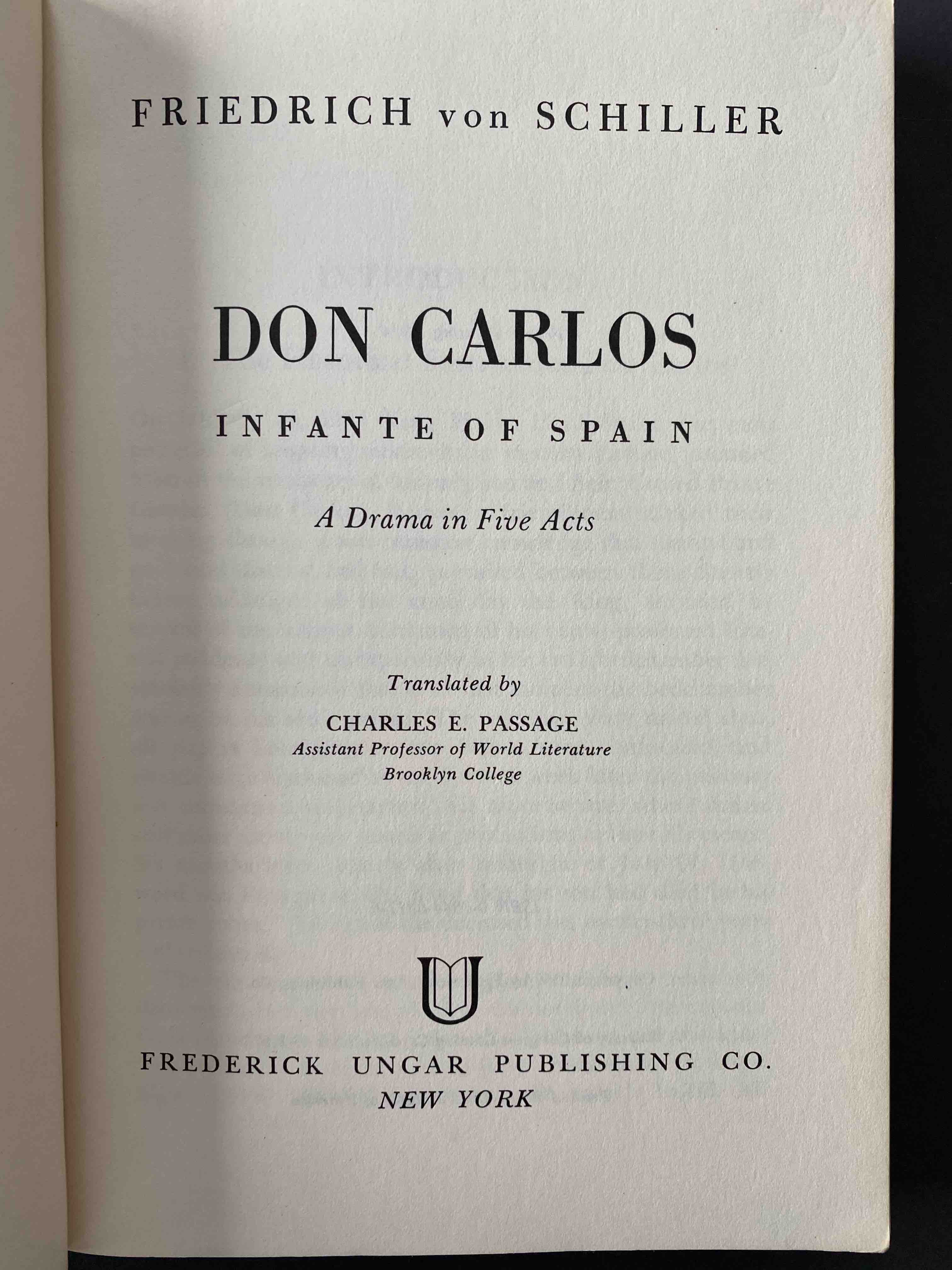 Friedrich Schiller, Don Carlos. First page..