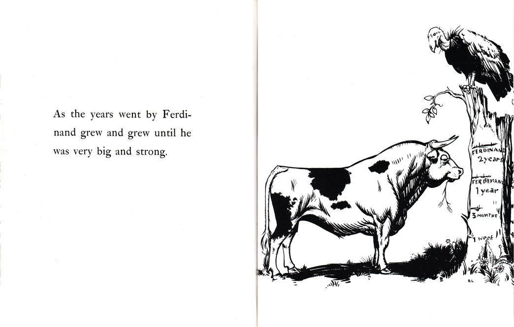 Pages from Munro Leaf's The Story of Ferdinand, illustrated by Robert Lawson