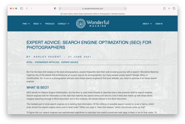 """Screenshot of the """"Expert Advice: SEO for Photographers,"""" an article published on Wonderful Machine.com"""