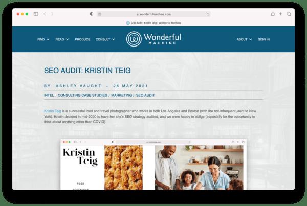"Screenshot of the ""SEO Audit: Kristin Teig,"" an article published on Wonderful Machine.com"