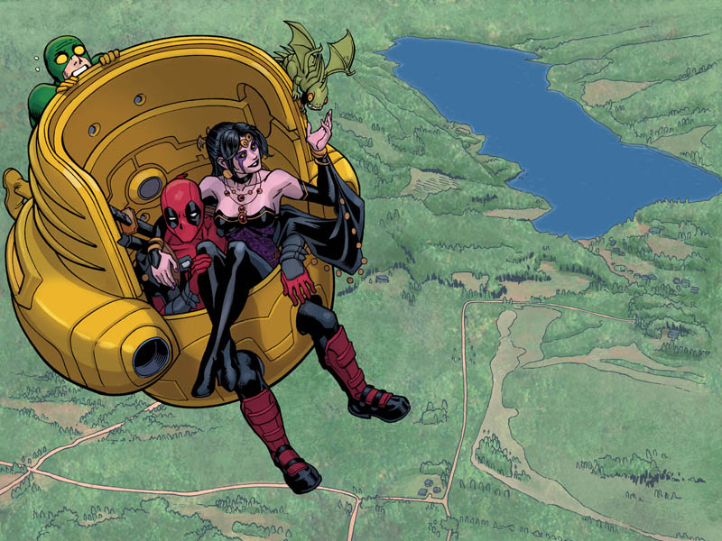 Deadpool, Shiklah, and an AIM soldier friends with the former. Flying around in M.O.D.O.K.'s chair.