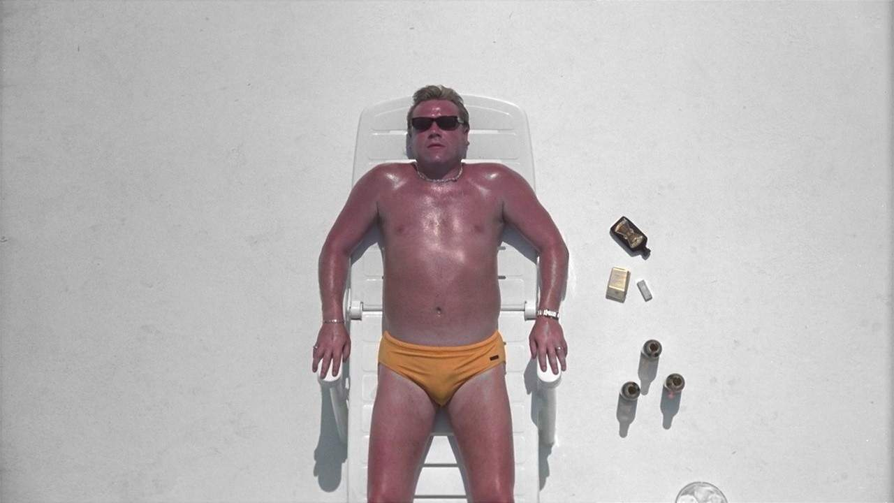 Ray Winstone in the opening scene of the 2000 film Sexy Beast.